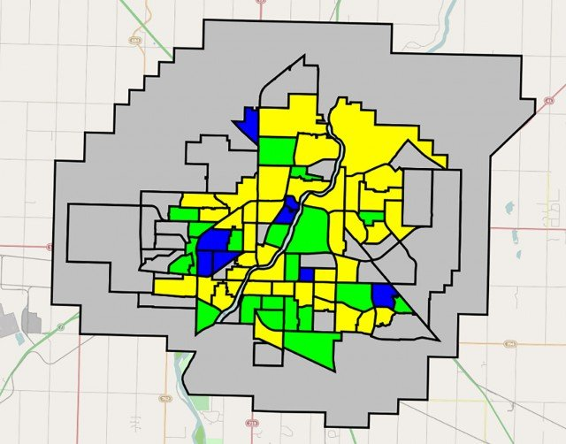 Aerial map of watermain conditions by neighbourhood.