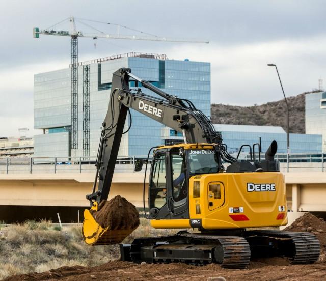 The John Deere 135G excavator.