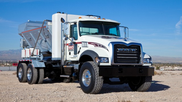 Mack Trucks demonstrated its commitment to application excellence with two models at the Equipment Fleet Management 2016 National Conference and Trade Show, including a Mack Granite  MHD model (above).