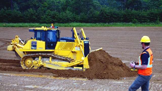 Komatsu's 155AXi-8 crawler dozer is the first radio controlled machine with intelligent Machine Control technology.