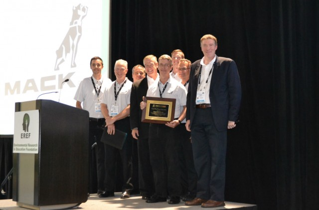 Mack Trucks was honoured by the Environmental Research & Education Foundation (EREF) for its long-standing support of the organization's research and education efforts around sustainable waste management. Curtis Dorwart, Mack refuse product manager (with plaque), was also recognized for his years of dedication and advocacy on behalf of EREF.