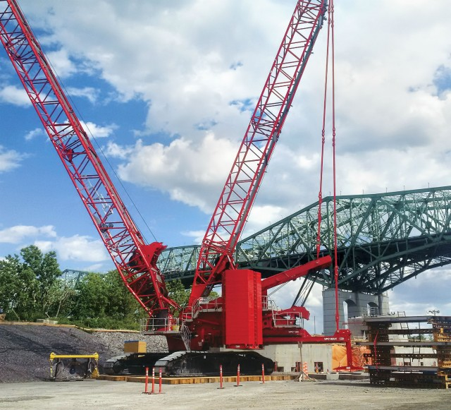 Two Manitowoc MLC650s are proving essential in the construction of the new Champlain Bridge in Montreal, Quebec, Canada, thanks to the reduced ground preparation made possible by the optional VPC-MAX attachment.