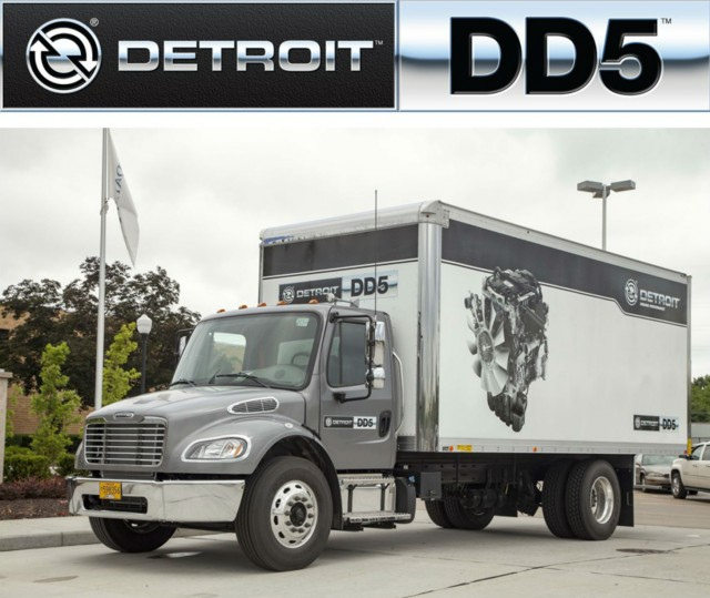 The DD5 is the newest Detroit engine and will begin production in the Freightliner M2106 this fall.