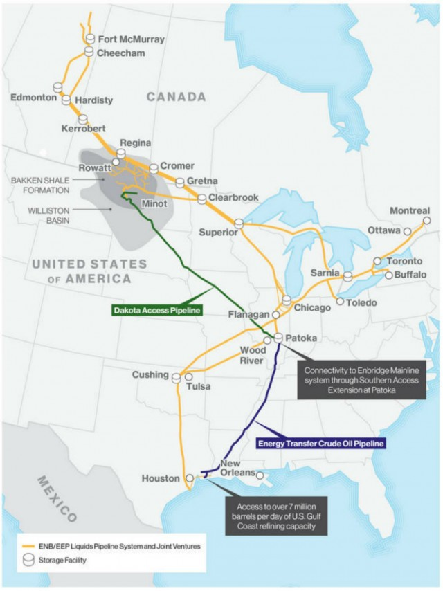 Enbridge Enters Agreement On Bakken Pipeline System - Map of us pipeline system
