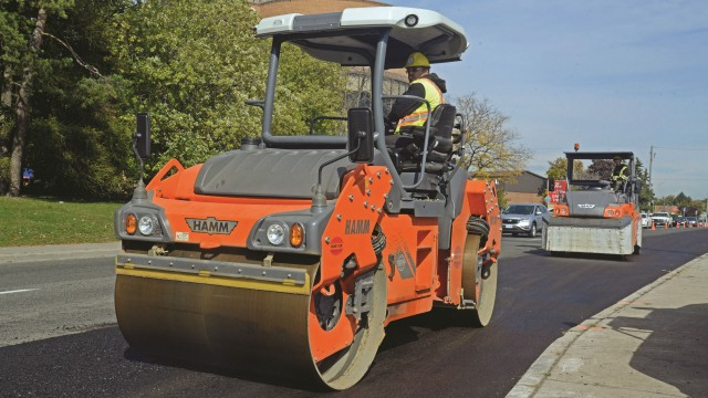Pave-Tar's Hamm split-drum HD+ 80i VV-S and rubber-tired GRW 280i rollers.