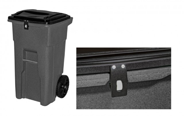 DuraLatch features gravity-based functionality, meaning the lid opens automatically when the garbage truck tips and empties the cart.