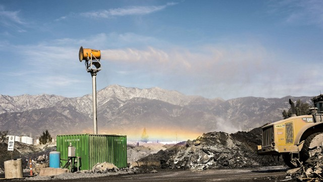 Tervita's container at their site in California was reinforced with a steel frame and modified to mount a steel tower topped by the DCT DustBoss DB-60.