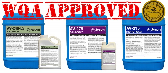 AV-248-LV Flexseal LV, AV-275 Soilgrout and AV-315 Microfoam are now certified by the Water Quality Association (WQA)