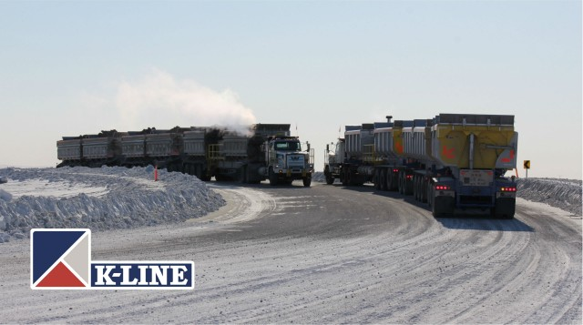 Fleet of K-Line Dual Powered Road Trains are hauling some of the highest long-distance payloads of material in the North American mining industry.