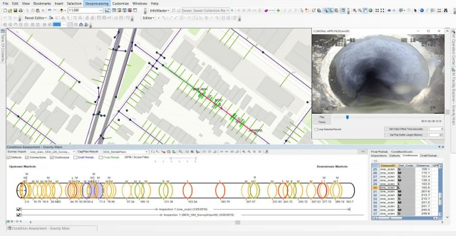 Electro Scan Critical Sewers results integrated with Innovyze InfoMaster for Sewers.