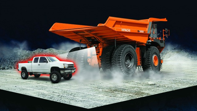 Peripheral vision display system with object detection technology, called Aerial Angle, enhances the visibility for operators of mining equipment by alerting them to obstacles when driving, stopping or starting their dump trucks.