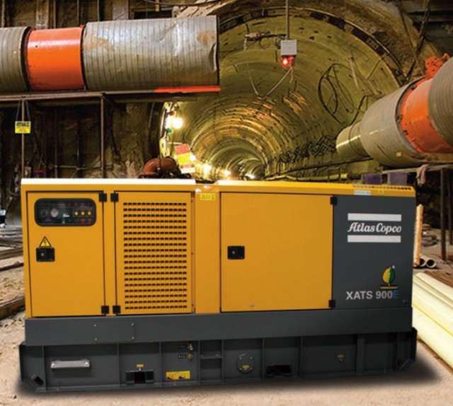 The Atlas Copco XATS 900E compressor features a variable flow of 879 to 906 cubic feet per minute at 100 to 150 psi, giving contractors the convenience of one machine with multiple settings.