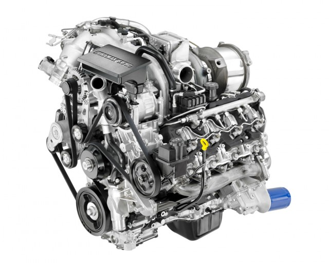 2017 Duramax 6.6L V-8 Turbo Diesel (L5P) for Chevrolet Silverado HD and GMC Sierra HD. The all-new 2017 Duramax 6.6L turbo diesel features more torque and horsepower and increased strength cylinder block, heads, crankshaft, connecting rods and pistons. The Duramax features a state-of-the-art oil separator and cold-start system among other features.