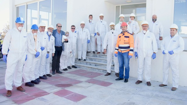 Representatives of Greek municipalities exploring the DEDISA plant in Chania.