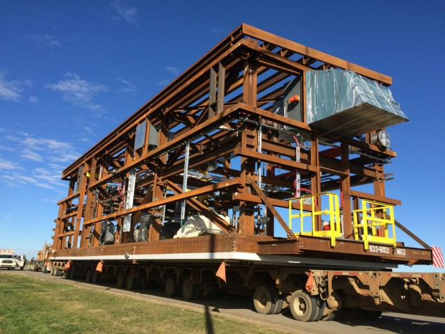 One of the 358 modules fabricated and shipped by Fluor to the Fort Hills Energy L.P. oil sands mining project in the Athabasca region of Alberta, Canada.