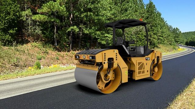 Caterpillar CB10 asphalt compactor with oscillation technology.