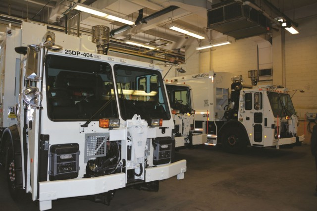 DSNY's heavy-duty fleet is made up primarily of Mack trucks, with LR series cab-forward models used for waste and recyclables collection.