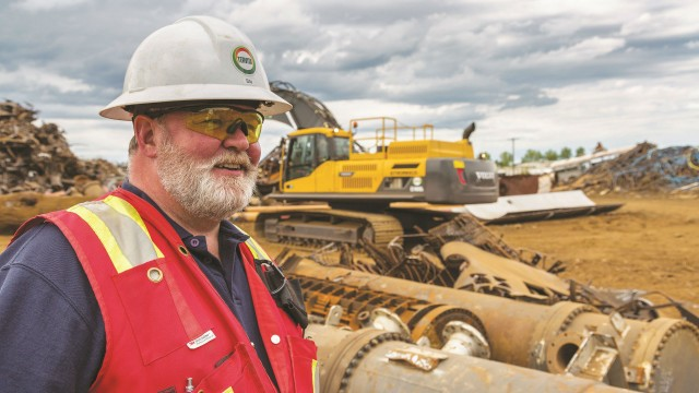 Stuart Sharpe, Tervita Metals Recycling GM, says his team is gaining fuel efficiency and lowering operating costs as new generations of shears are allowing them to get the same power on 35- and 40-ton machines that used to be achieved with only larger machines.
