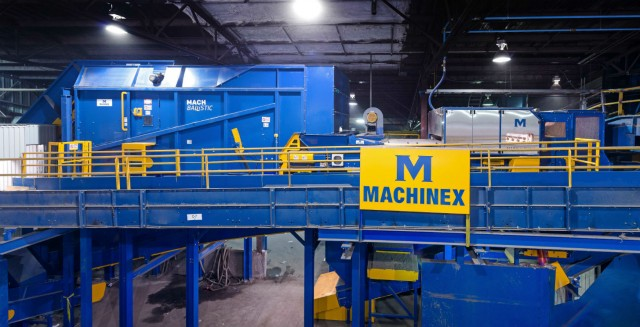 At the EBI material recovery facility located in Joliette, QC three MACH Hyspec optical sorters are part of the system. The first one cleans newspaper, the second one ejects PET and fibres, and the third one sorts HDPE as well as mixed plastics.