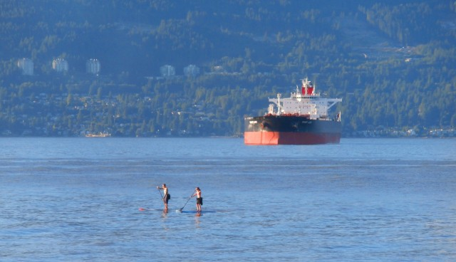 A tanker at anchor in Vancouver harbour.  – Photo from Flickr user Jennifer C., used under Creative Commons license. https://creativecommons.org/licenses/by/2.0/