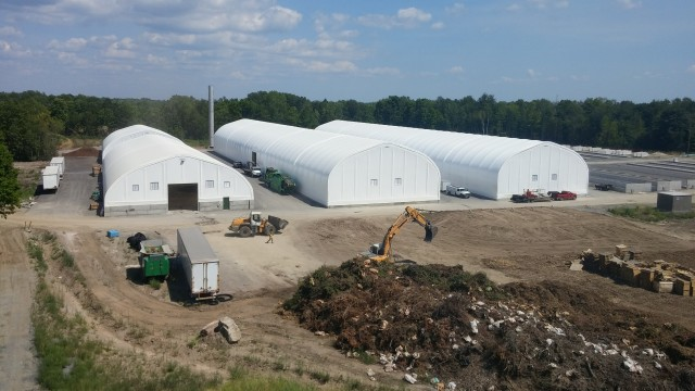 Astoria Organic Matters' new composting facility in Belleville, Ontario uses MegaDome polyethylene-covered, metal-frame buildings over tipping, bio-filter and composting operations.