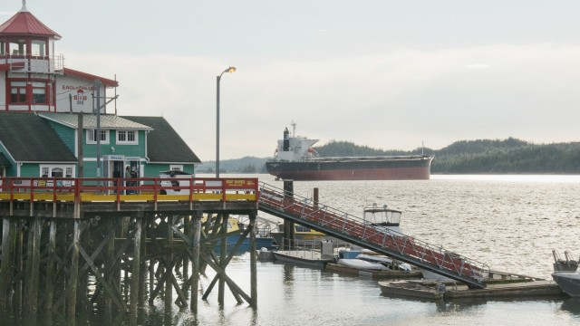 A tanker at anchor in Prince Rupert harbour. – Flickr user adavey