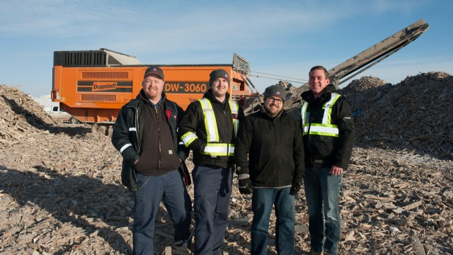 From left: Matt Johnson, Operations Manager, Jordan Gifford, Equipment Manager and Derek Stevens, Landfill Division Manager for Loraas, along with Bobby Corbin,  Frontline Machinery Saskatchewan Representative.