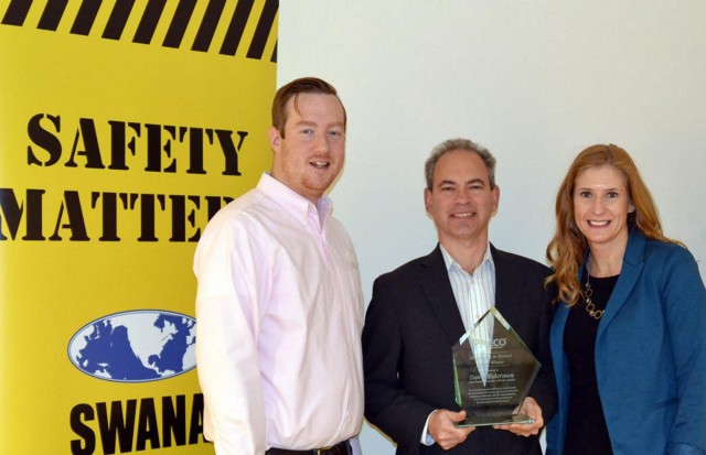 Left to Right: Jesse Maxwell and David Biderman receive the 2016 PRECO Electronics' Excellence in Safety Award from Tamara Humpherys.