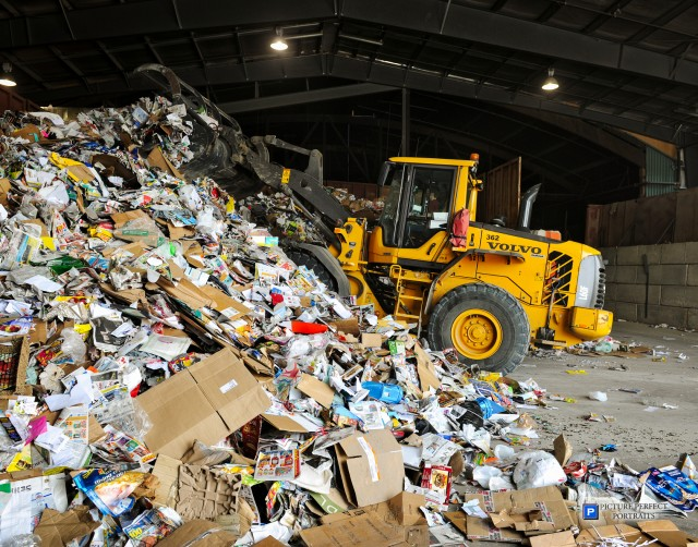 Working the pile at the Loraas Recycle MRF with their Volvo wheel loader.
