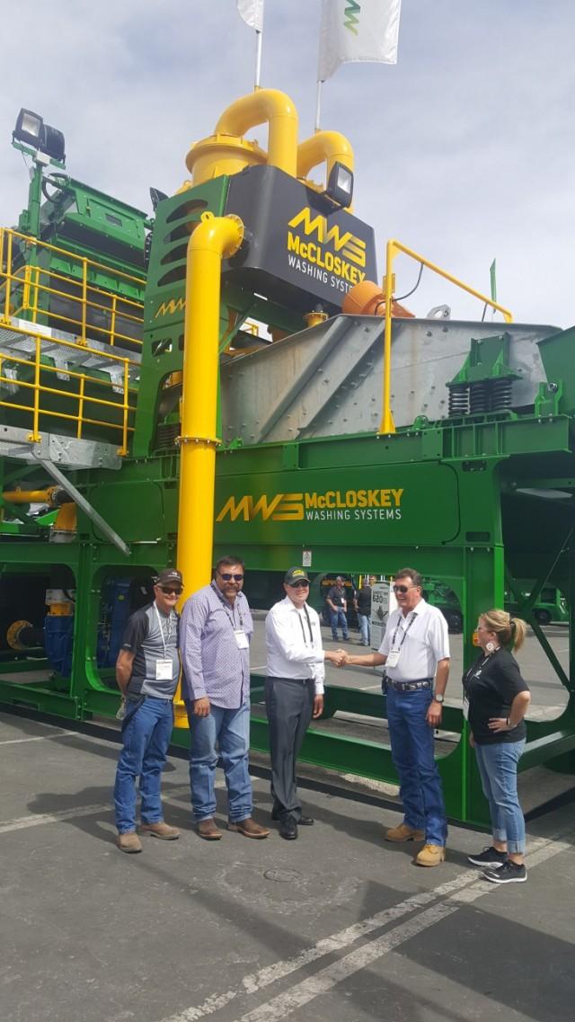 Excel Machinery Ltd & McCloskey Washing Systems. Left to Right: David Timmons, Charles Romero, Craig Rautiola (MWS), Matt Garth & Jenifer Payn.