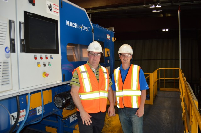Left to right: Karl Allen, Plant manager, and Matt Risko, Machinex Sales Representative Eastern Canada, with Northumberland's MACH Hyspec optical sorter for PET.