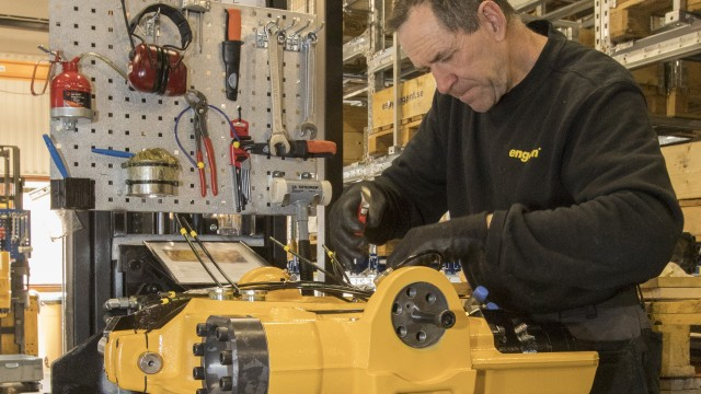 An Engcon employee at work in the company's new factory.
