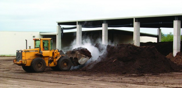 Turning the pile with a wheel loader