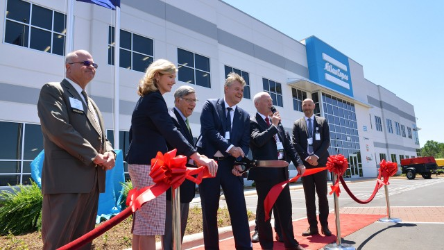 Atlas Copco AB President and CEO Mats Rahmstrom cuts the ribbon at the grand opening of the Atlas Copco production facility in Rock Hill, South Carolina, Wednesday, May 17, 2017. The $25 million, 197,000-square-foot plant at 1059 Paragon Way employs more than 300.