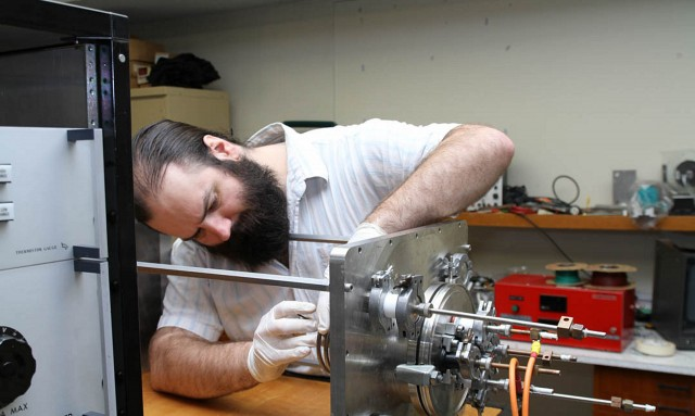 Neumann Space founder Patrick Neumann working on the cathode-anode-coil assembly of his space-junk eating rocket. Picture courtesy of Horst Burghardt.