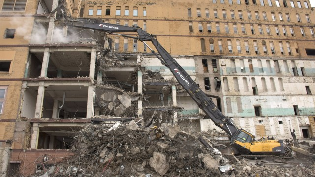 Tactical takedown: Volvo high reach excavator helps with giant downtown demolition project