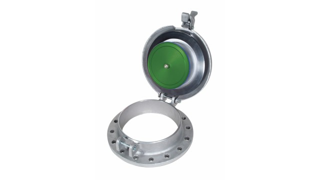 Spring-loaded thief hatch for low-pressure storage tanks
