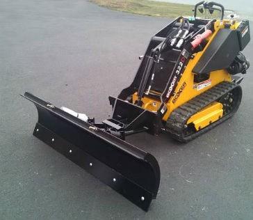 Snow plow blade for mini skid steers