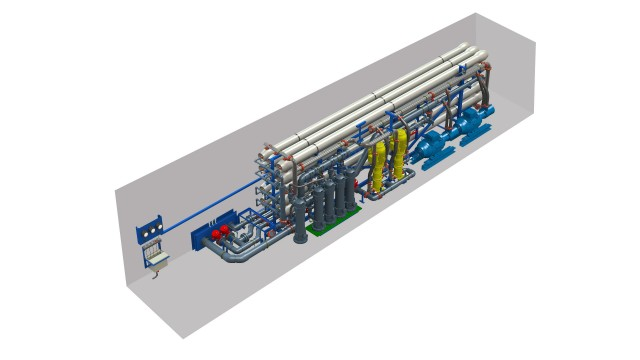 Petroleum refinery using mobile water units for desalination