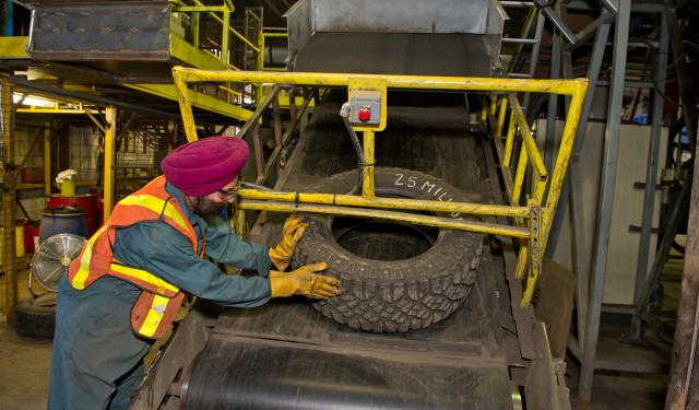 Into the shredder: the 25-millionth tire to be recycled at Emterra Tire Recycling, Ontario, an OTS program participant and member of the Canadian Association of Tire Recycling Agencies.