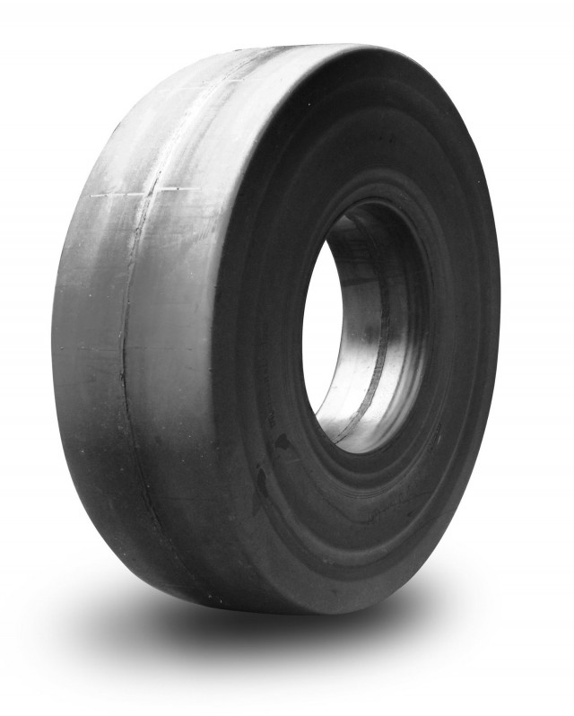 Wear is typically longest using solid rubber with no tread (shown here). This is true as long as operators don't spin tires or chip and chunk the rubber, which will cause shock waves that can result in stress cracks to the loader, forklift or other machine.