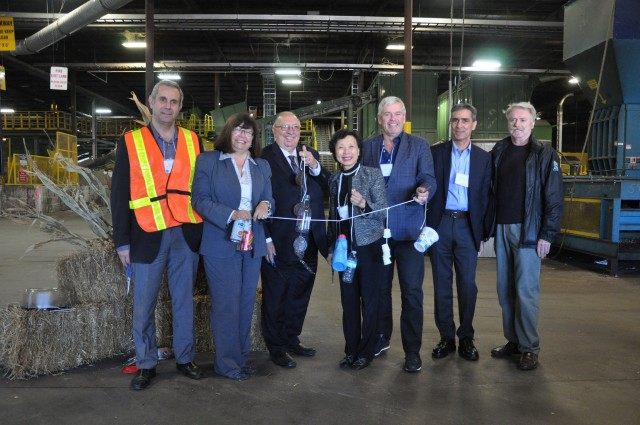 At the ribbon cutting ceremony at ReVital Polymers grand opening, left to right: Tony Moucachen, President, ReVital Polymers; Carol Hochu, President and CEO, Canadian Plastics Industry Association; Bob Bailey, MPP (Lambton-Sarnia); Emmie Leung, CEO, ReVital Polymers; Arthur Potts, MPP (Beaches-East York), Parliamentary Assistant to the Minister of the Environment and Climate Change; Keith Bechard, Chief Commercial Officer, ReVital Polymers; and Michael Bradley, Mayor, City of Sarnia.