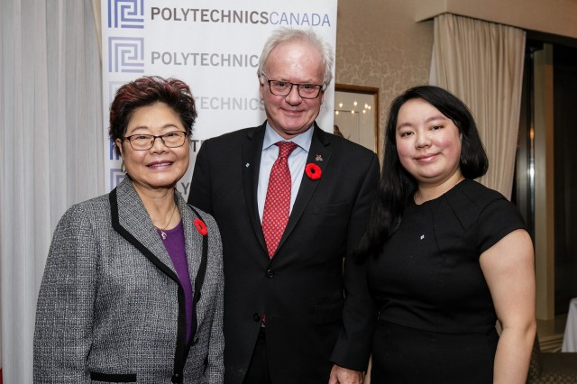 Polytechnics Canada National Strategy Student Ambassador Alisa Yao (right) and colleagues.