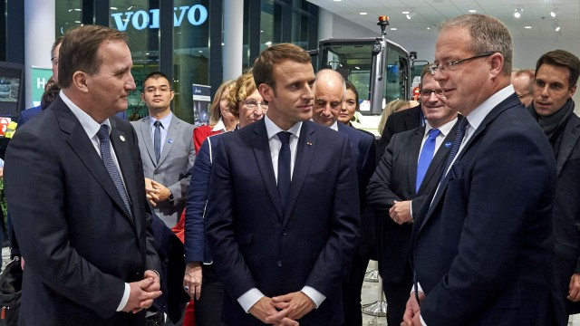 From left: Swedish Prime Minister Stefan Löfven, French President Emmanuel Macron and Martin Lundstedt, President and CEO of the Volvo Group, at the Volvo Group headquarters in Gothenburg.