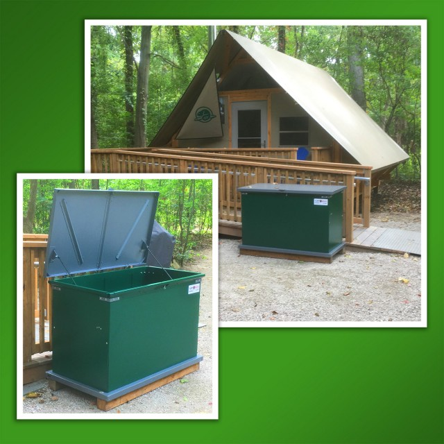Grizzly container provides lockable, animal-proof storage for residential waste and recyclables