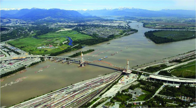 The tunnel runs under the Fraser River near the Port Mann Bridge.