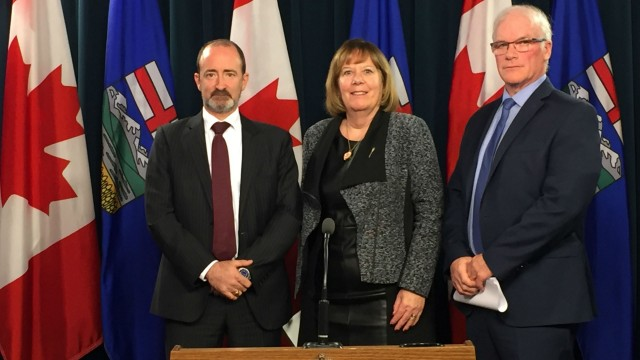 Brad Herald, vice-president, Canadian Association of Petroleum Producers, Margaret McCuaig-Boyd, Minister of Energy, Jim Ellis, president and CEO, Alberta Energy Regulator.