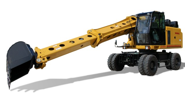 Low profile and compact boom add stability to excavator