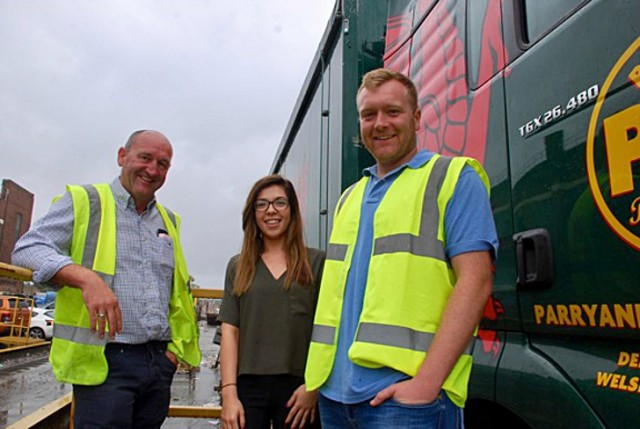 Steve Evans (left), Hayley Brooks, head of human resources, and Lee Evans beside a company lorry. As an independent recycler, Parry and Evans pride themselves in delivering quality and precisely defined bales to paper mills in Europe, Asia and Indonesia.