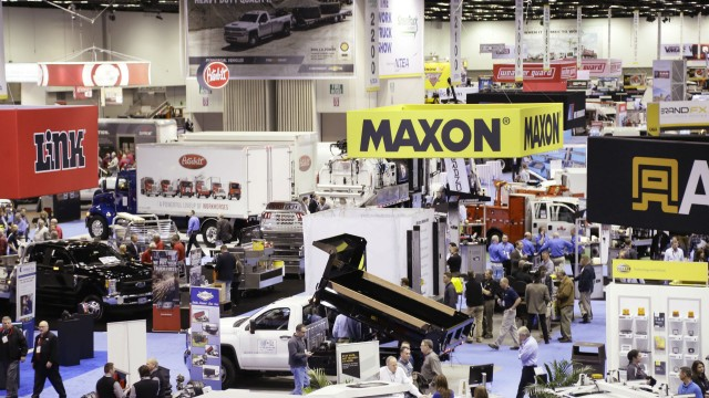 Crowds make their way through displays during the NTEA Work Truck Show.